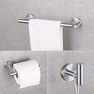 Gexmil Stainless Steel Bathroom Hardware Set Brushed Steel 3 Pieces Bathroom Hardware Accessories Sets Wall Mounted Double Towel Bar Towel Holder Hook Toilet Paper Holder