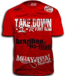 Take Down Fight Gear Skull Muay Thai Fighting Brazilian Jiu-Jitsu Walk-Out MMA UFC Tapout Style T-Shirt