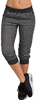 MXVPY Women's Casual Sports Cropped Pants Yoga Running Exercise Shorts Elastic Waist Side Pockets