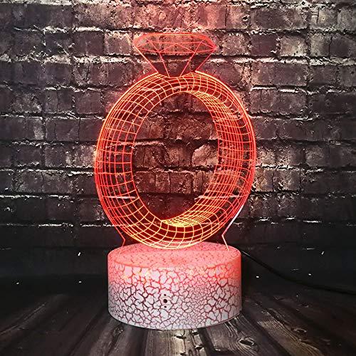 3D optische illusie lampen diamantring ideeën bureau tafellamp 7 kleuren touch lampen voor kinderen slaapkamer verjaardagsgeschenk geschenk met USB-kabel afstandsbediening