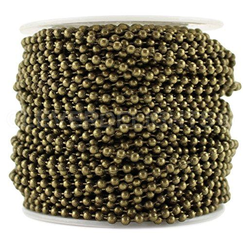 cleverdelights Ball Kette Spule–100Füße–Antik Bronze Farbe–2,4mm Ball–# 3Größe–Bulk Rolle