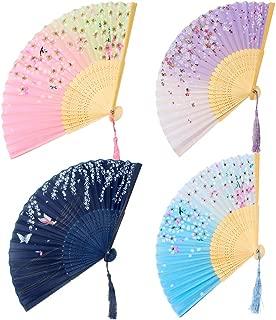 GoMaihe Handfächer Stoff Hochzeit 4 STK, 21�cm Bambus Fächer Taschenfächer Klein für Handtasche, Japanische Dekofächer Wandfächer Faltfächer Klappfächer, Gäste Give Aways Hand Fan Hochzeitsfächer