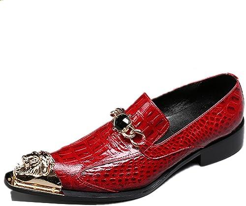Orfila homme Chaussures en métal orteil Western Cuir véritable Strass Mocassins pointu Affaires formelle Club robes de mariage Taille 38à 45