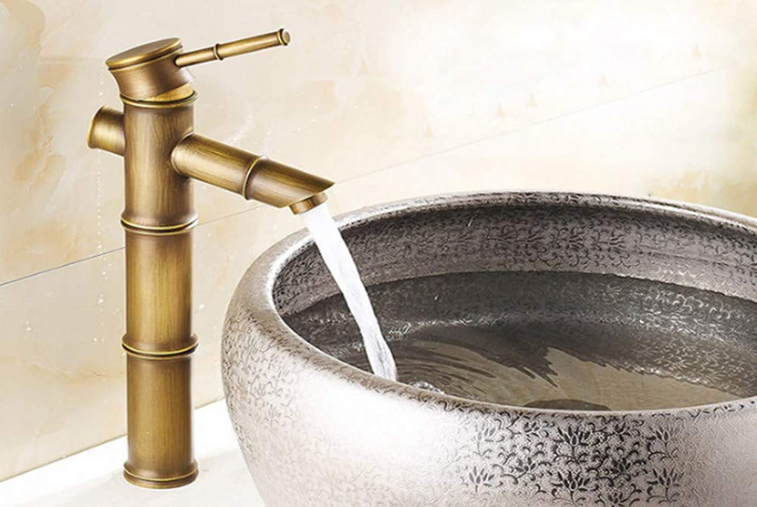 Brass Waterfall Bathroom Faucet Sink Vessel Tall Bamboo Water Tap Mixer Hot and