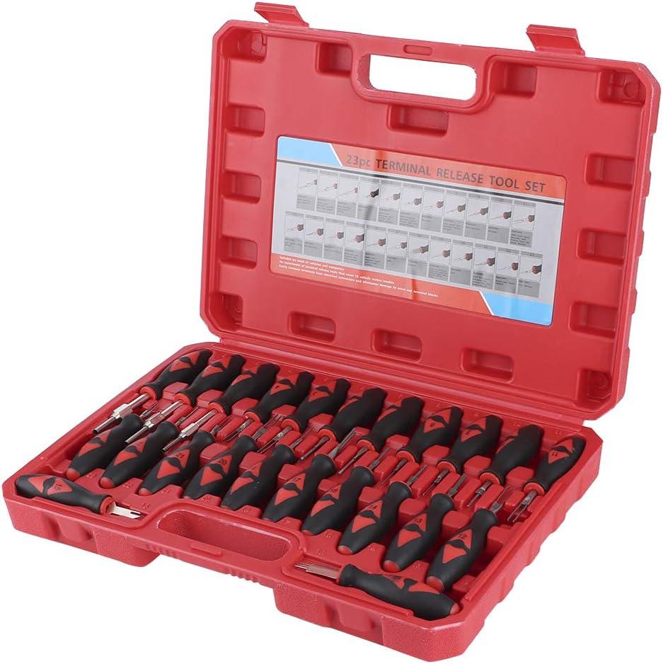 Qiilu Kit de herramientas de extracción de terminal de automóvil, 23 piezas Kit de herramienta de eliminación de terminal de automóvil Universal Desmontaje de conector de cabo de automóvil