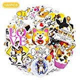 Realcome 100 Pcs Corgi Stickers,Guitar Travel Case Sticker Door Laptop Luggage Car Bike Bicycle Stickers,Welsh Corgi Gifts(Dog Stickers)