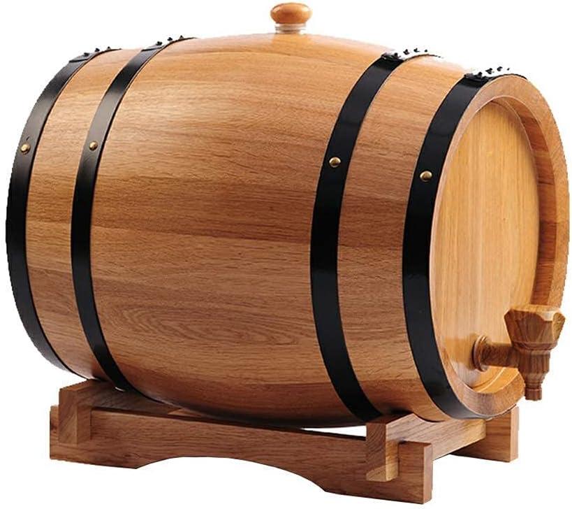 GAXQFEI Roble Whi Envejeciendo Barril - 20L Dispensador de Barril de Vino de Madera Duradero Practico de Madera de Roble de Madera con Soporte de Madera, para Whi Bourbon Tequila (B, 20L) Barril de R