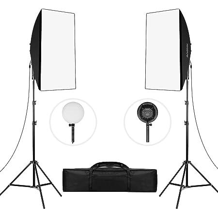Andoer ソフトボックス 写真撮影照明キット LEDライトキット 50x70cm ソフトボックス 80W 2色温度 3200K / 5500K 調光対応 2*LEDライト 滑り止めハンドル 2mライトスタンド キャリーバッグ付き スタジオ撮影 ポートレート撮影 インタビュー 映画の背景用