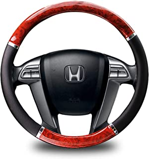 Zento Deals Premium Quality Classy Look PU Leather Black and Wood Grain Steering Wheel Cover