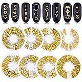 8 scatole Nail Art Strass, Gemme per Unghie, 3D perni vuoti in metallo per nail art con borchie Gemme in pietra per unghie Kit di design Strass misti Set per artigianato Decorazione unghie fai da te
