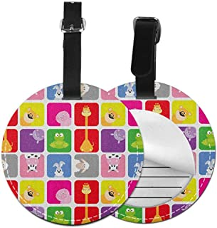 Multicolor round luggage tag Nursery Hanging on the suitcase Cartoon Animals in Colorful Frames Cute Pig Cow Giraffe Hippo Frog Rabbit Sheep,Diameter3.7