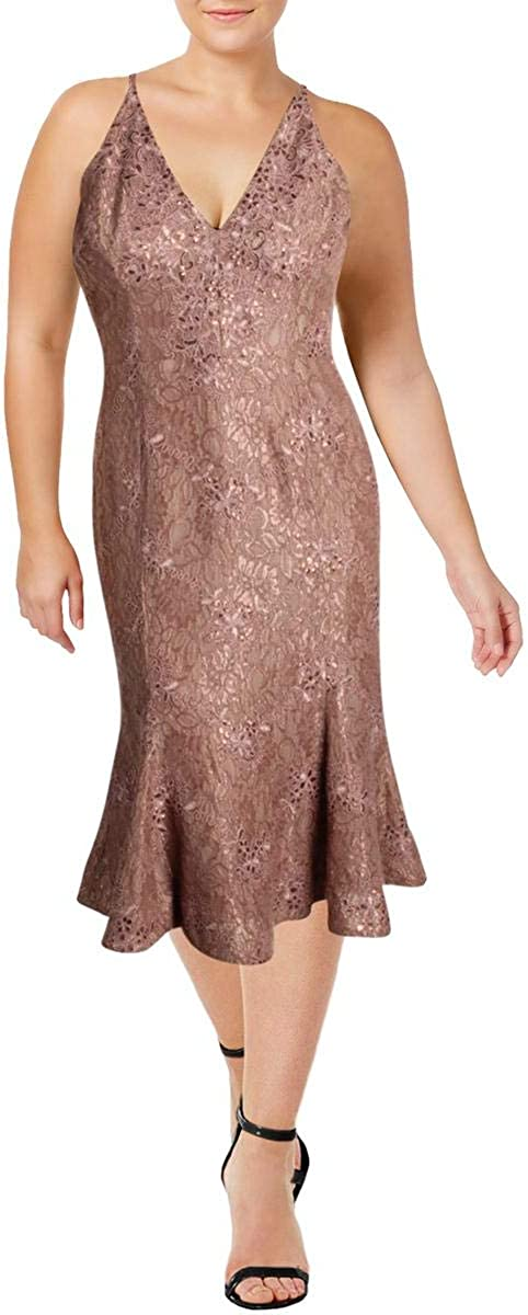 Dress the Population Women's Isabelle Plunging Spaghetti Strap Mermaid Fitted Midi Dress, Mauve/Nude lace, XS