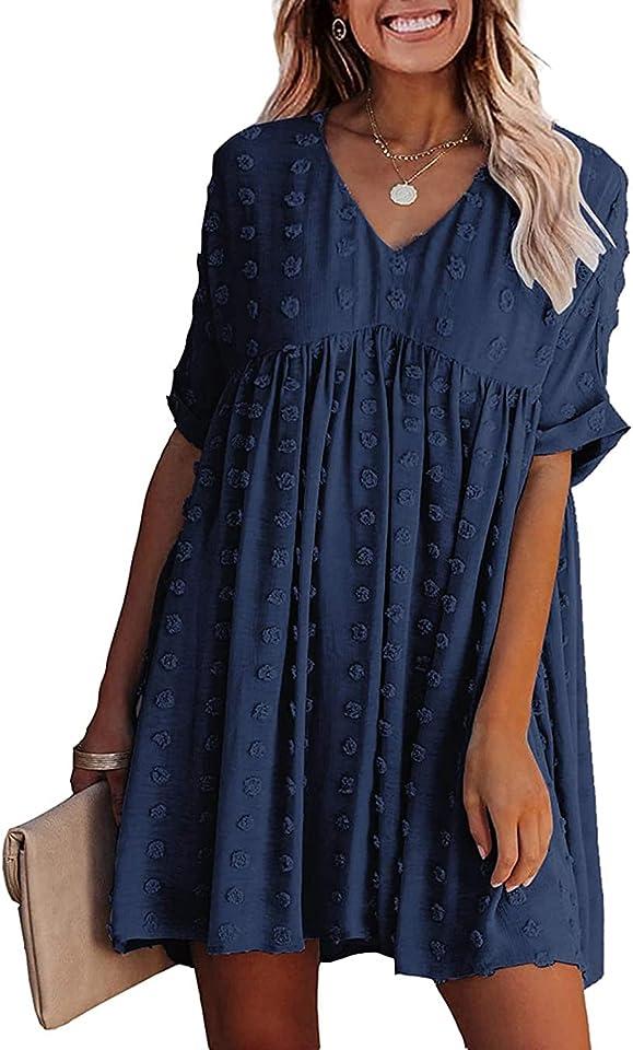 Womens Summer Dress Casual V Neck Dress Short Sleeve Dress Elegant Sexy Flowy Swing Dress Swiss Dot Faux Loose Fit Beach Dress