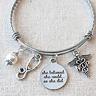 NP Nurse Gifts, NP Graduate Gifts, She Believed She Could So She Did Nurse Practitioner NP Graduation Gift, Nurse Practitioner Graduate Bracelet, Gifts For Nurses