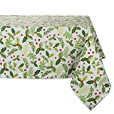 DII 52x52' Square Cotton Tablecloth, Boughs of Holly - Perfect for Dinner Parties, Christmas,...