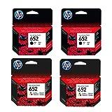 Hewlett-Packard F6V25AE F6V24AE HP 652 HP652 - Juego de 2 cartuchos de tinta originales para HP Deskjet Ink Advantage 1115-2X negro + 2 cartuchos de color (capacidad para 360, 200 páginas aprox., 5% de color)