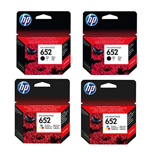Cartucho de tinta original de HP f6V25ae HP 652hp652para HP Deskjet Ink Advantage 3635–Black–Potencia: aprox. 360páginas/5%, color (08) 2x Tintenpatronen Set - 2x Black + 2x Color