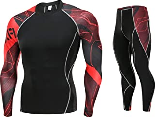 Men's Fitness Suit Long Sleeve Tight Men's Sports Suit Compression Shirt and Trousers Top, Long-Sleeve Sports Tight-Fittin...