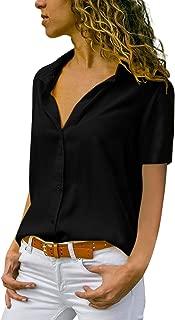 Fashion 2019 Women's Blouse Chiffon Solid Shirt Office Ladies Plain Short Sleeve Casual Blouse,BK,M,China