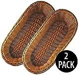 KOVOT Poly-Wicker Bread Basket Set of 2-14.5' Woven Polypropylene