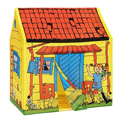 Micki & Friends 44377300 Pippi Langstrumpf Zelt - Kinderhaus Spielzelt Villa Kunterbunt - L/B/H: 97x75x108 cm - Indoor & Outdoor - Tür, Fenster, Vorhänge - ab 3 Jahre