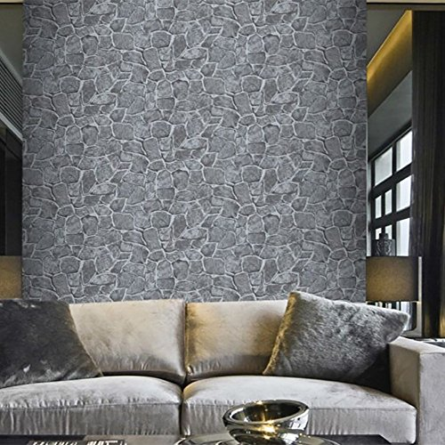AIMEE7 papel pintado ladrillo Pegatina autoadhesiva de la pared del efecto rústico de la piedra del ladrillo 3D Decoración del hogar (17.7*39.3, Gris)