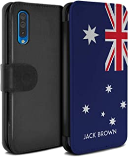 Personalized Custom National Nation Flag 3 PU Leather Case for Samsung Galaxy A50 2019 / Australia/Australian Design/Initial/Name/Text DIY Wallet/Cover