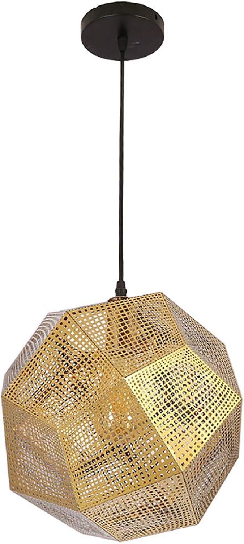 YJFFAN Nordic Dining Kronleuchter Personalisierte Hollow Multi-Seitige Kugel Pendant Light Luxury Postmodern Creative Edelstahl Geometrischen Restaurant Hngende Lampe E27,Titanium,25CM