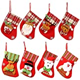 Gobesty Calcetín Navidad, 8 Piezas Calcetín Navidad Chimenea Medias Navideñas para árbol de Navidad con Papá Noel Muñeco de Nieve Reno, Adorno de Calcetín Navidad Chimenea, 16 cm