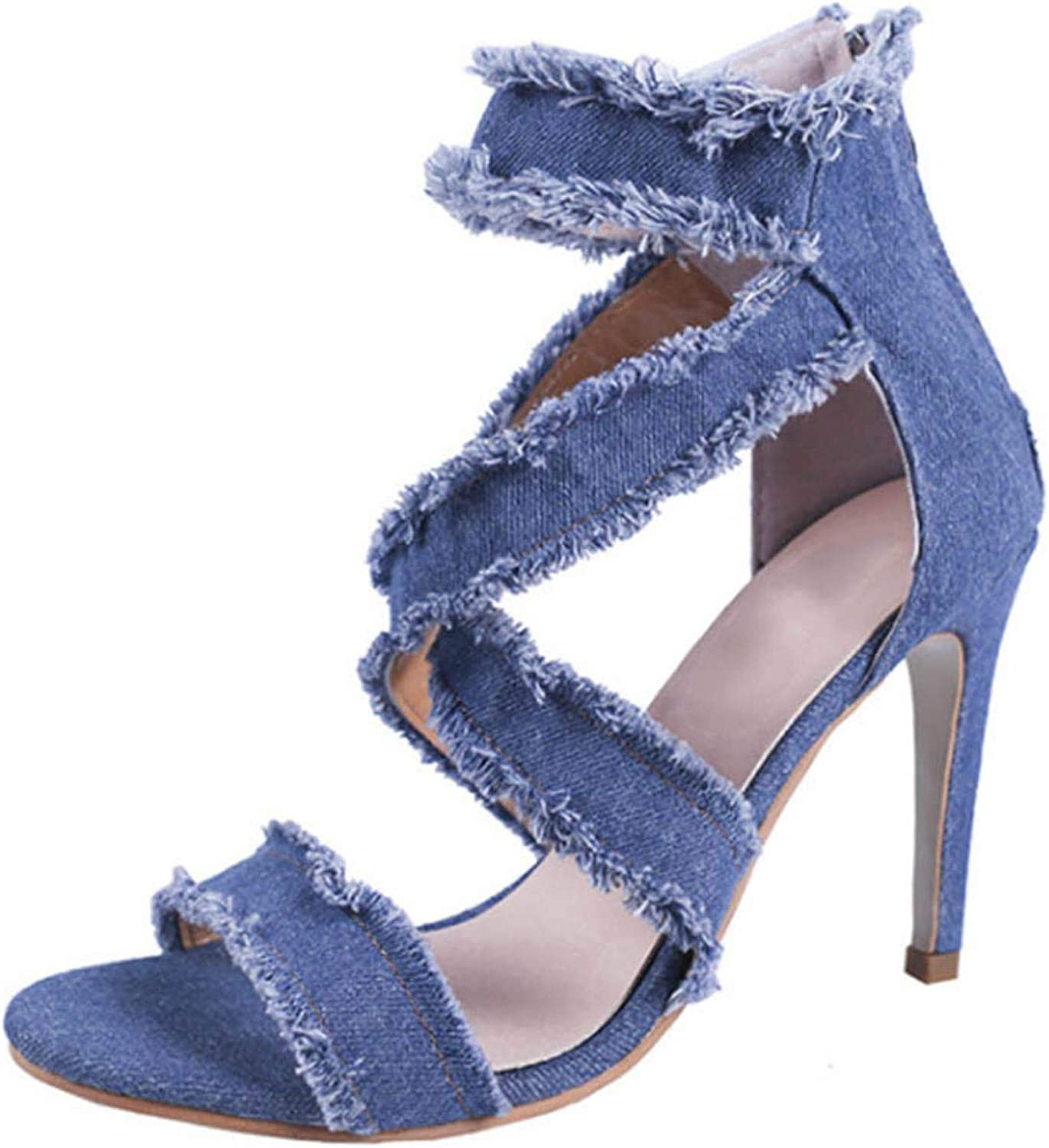 Women Shallow Mouth With Fashion Sexy Wild Denim High Heels