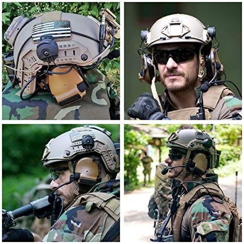 TAC-SKYCOMTAIIIヘルメットバージョンサバゲーヘッドセット、kenwoodPTT付き、聴覚保護(コヨーテブラウン)
