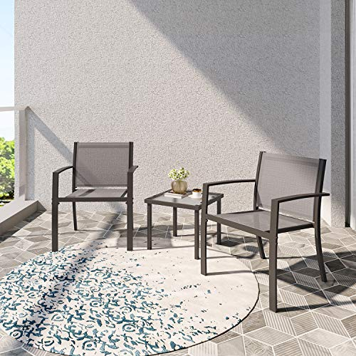 Garden Furniture Set 2 Seater, Indoor Outdoor Dining Table Chair Sofa Sets, 2 Armchairs + Glass Coffee Table for Patio, Backyard, Poolside, Terrace (Brown)