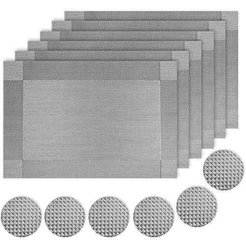 ZhengYue Place Mats and Coasters Non-slip Insulation Kitchen Silver Grey PVC Placemats Heat Insulation Stain-resistant Dinning Table Mats and Coasters Set of 6