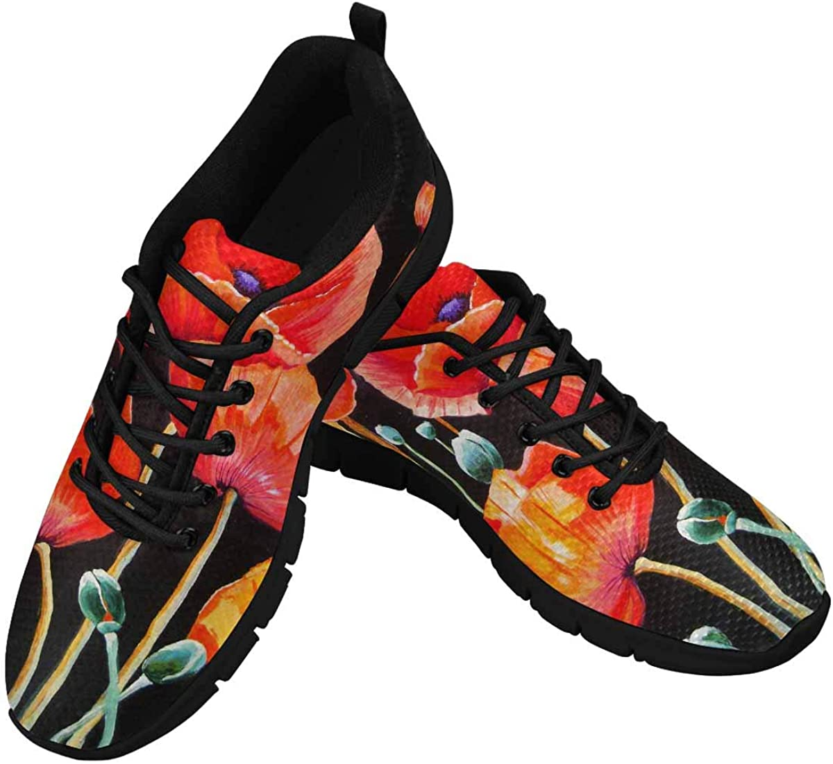 INTERESTPRINT Red Poppy Women's Running Shoes Mesh Breathable Sports Casual Shoes