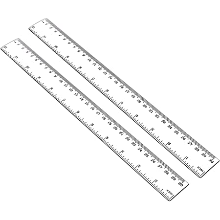 """ALLINONE Plastic Ruler Flexible Ruler with Inches and Metric Measuring Tool 12 Inch (2 Pieces), Clear, Plastic Ruler 12, 2x12"""""""