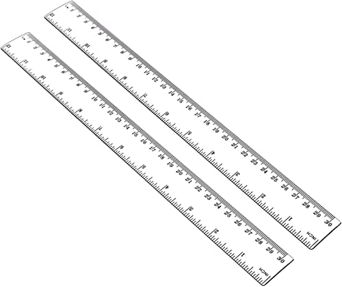 ALLINONE Plastic Ruler Flexible Ruler with Inches and Metric Measuring Tool 12 Inch (2 Pieces), Clear, Plastic Ruler ...