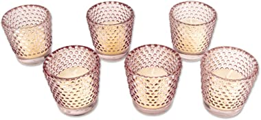 Koyal Wholesale Hobnail Glass Candle Holder, 2.5 x 2.4-Inch, Set of 6 (Blush Pink)