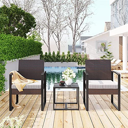 Moskado Garden Furniture Sets, Outdoor Table and Chairs Rattan Garden Furniture Set, Sun Loungers Set Of 2 With Coffee Table and Cushions Outdoor/Indoor, Garden, Balcony, Pool Side (Brown)