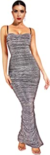 UONBOX Women's Sexy Mesh See Through Ruched Cocktail Party Midi Bodycon Strap Dress