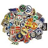 Juego de 50 Pegatinas de futbol Vinilos Impermeable Stickers fútbol, English Premier League, La Liga, Bundesliga, Calcomanías para Portátil, Auto,...