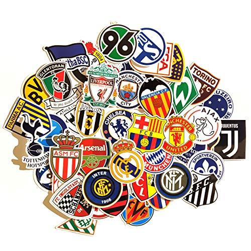 Juego de 50 Pegatinas de futbol Vinilos Impermeable Stickers fútbol, English Premier League, La Liga, Bundesliga, Calcomanías para Portátil, Auto, Laptop