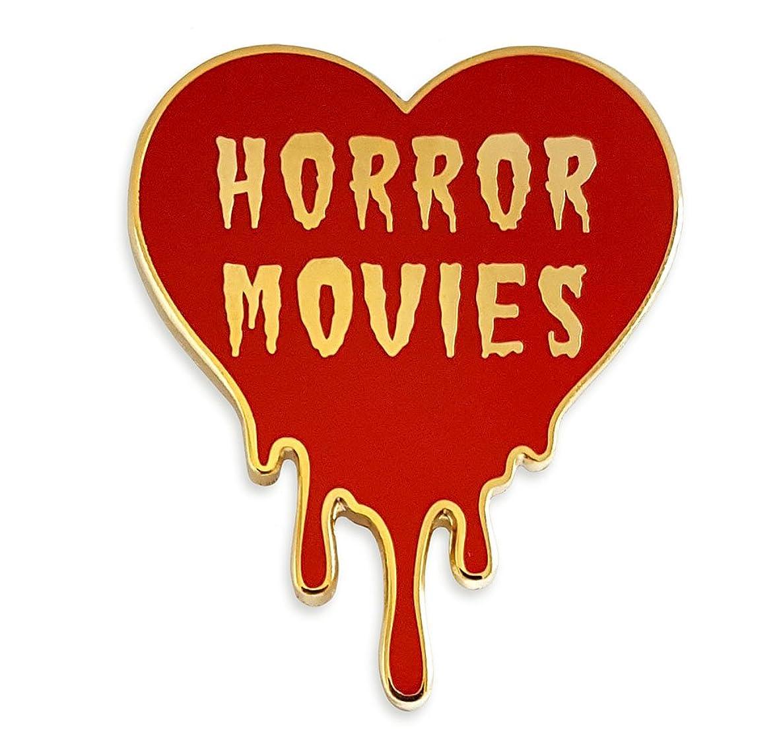 Pinsanity I Love Horror Movies Heart Enamel Lapel Pin