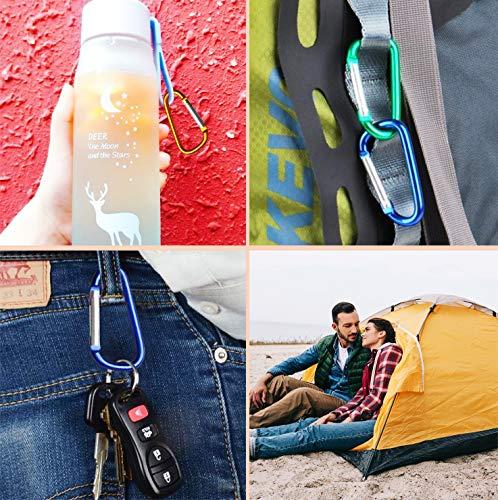 nuosen 40 PCS Locking Carabiner, D-Shaped Carabiner Key Chain Aluminum D-Ring Carabiner Clip Hook for Camping Hiking (5 Colors)