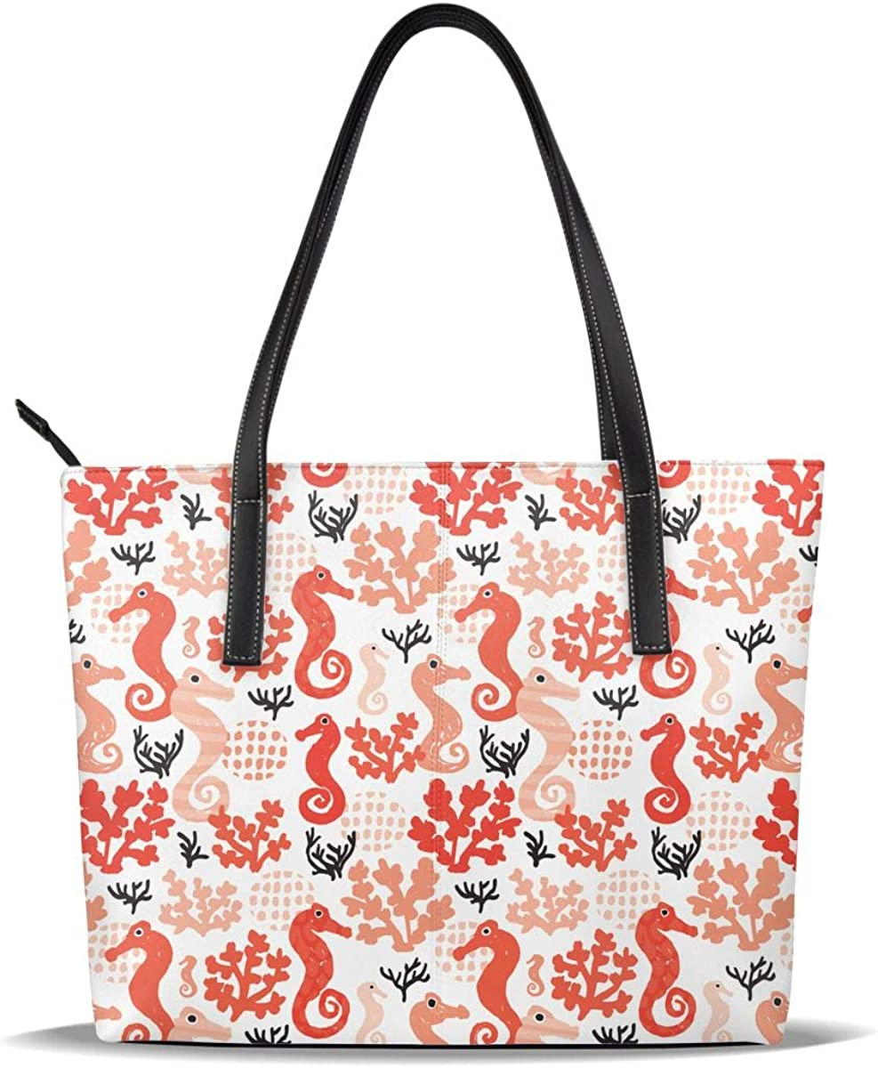 Orange Sea Max 70% OFF Horse Factory outlet Seahorse Seaweed Leather Pattern Cas Printed PU