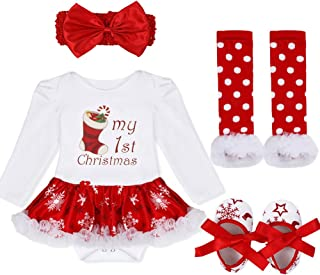 Baby Girls First Christmas Outfit Costumes Romper Bodysuit Leg Warmer Shoes Headband Party Dress White Red Stocking 6-9 Months