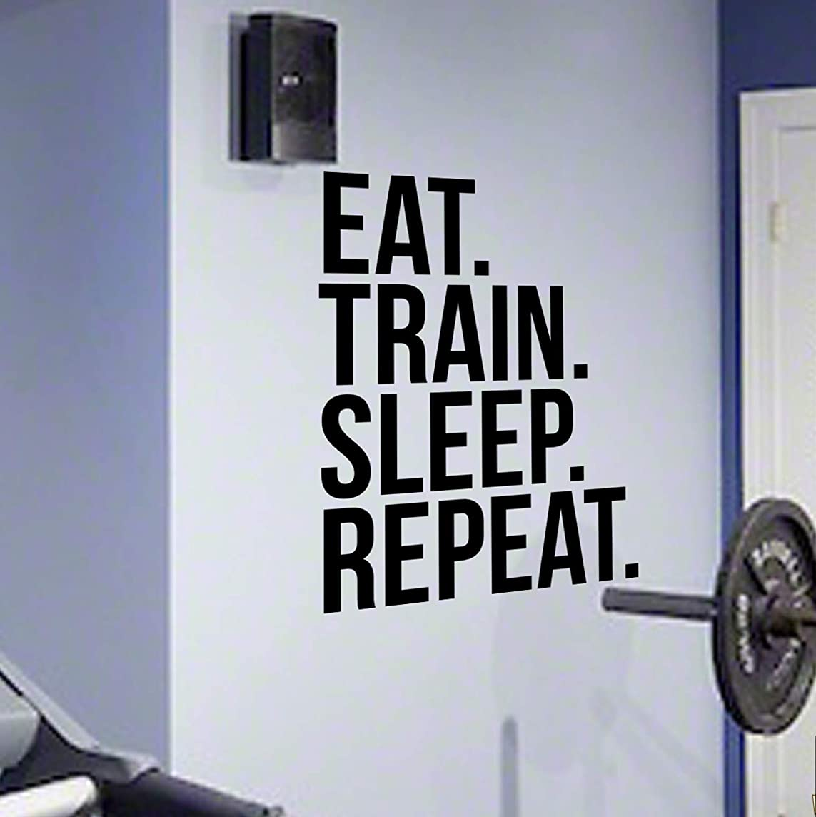 EAT TRAIN SLEEP REPEAT Gym Wall Decal Motivational Quote-Health and Fitness Spinning Kettlebell Workout Boxing UFC MMA