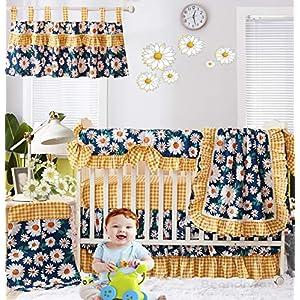 Brandream Baby Girl Crib Bedding Set Vintage Daisy Floral Nursery Bedding Blue Yellow Sunflower Blanket Cradle Set with Crib Rail Cover, 100% Cotton