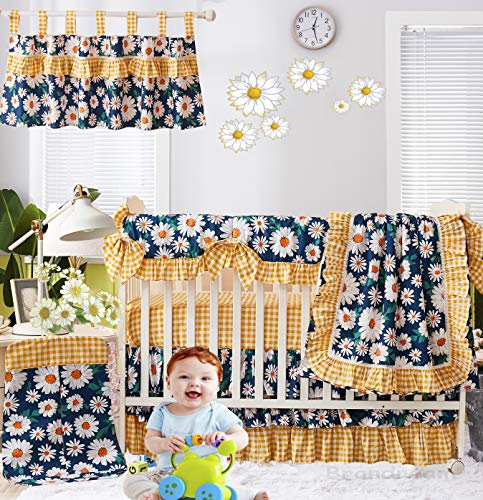 Brandream Baby Girl Crib Bedding Set Vintage Daisy Floral Nursery Bedding Blue Yellow Sunflower Blanket Set Vintage Cradle Set with Crib Rail Cover, 100% Cotton