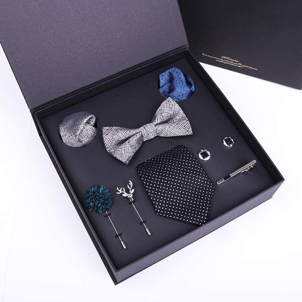 WYKDL Men Tie Set Cufflinks Pocket Square and Tie Clip Style Necktie Gift Box for Men Ties Set 75Mm Wide Necktie Silk Jacquard Woven Neck Tie Suit Wedding Party