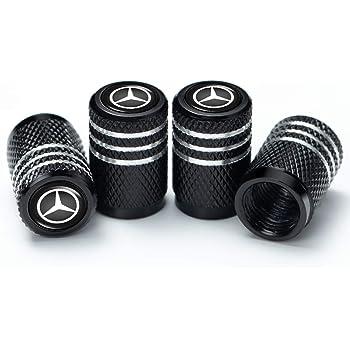 Baoxijie 4Pcs Metal Car Wheel Tire Valve Stem Caps for Mercedes Benz C E S M CLS CLK GLK GL A B AMG GLS GLE Logo Styling Decoration Accessories Silver
